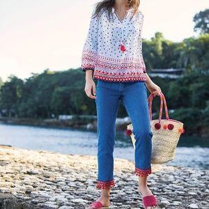 NWOT Boden Cambridge Ankle PomPom Jeans